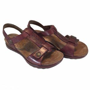 Dansko Pasha Burgundy Leather T Strap Sandals